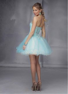 837a31f01 Chic Tulle Sweetheart Neckline Short A-line Homecoming Dress Blue Party  Dress