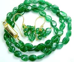 JADE DRILLED BEAD NECKLACE EARRING SET 65.5  CTS SG-2215  NATURAL BEADS  NECKLACE FROM GEMROCKAUCTIONS.COM