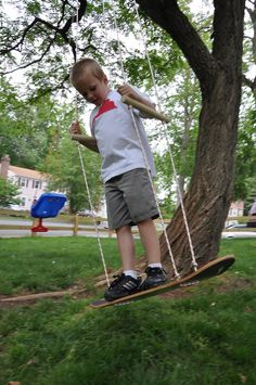 Use an old skateboard to create this super easy swing with grippy surface!