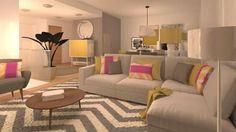 Sala de estar com decoraçao  cinza, amarela e rosa...