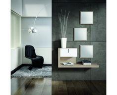 Conjunto recibidor de línea actual, compuesto de tres espejos + mueble consola con cajón. Combinación de colores Fresno Estepa/Laca Blanco.