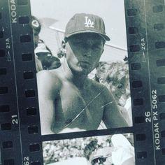 THINK BLUE: @strummerteeth circa 1985 at a Dodger game. Happy to call him my longtime friend.  #filmfridays #film #plusx #kodak #timmeubanksphotography #dodgers #LA #friends #1985 #blackandwhite #contactsheets by oldvw