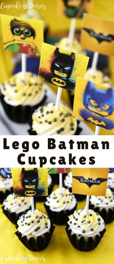 Lego Batman Cupcakes are the perfect dessert for a Lego Batman Movie birthday party! Get the FREE printable toppers to pop right on top of the cupcakes. Lego Batman Party, Lego Batman Birthday, Lego Birthday Party, 6th Birthday Parties, Birthday Cupcakes, 4th Birthday, Birthday Ideas, Kids Batman, Batman Batman
