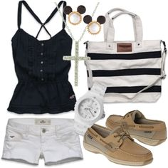 Navy and White Preppy Outfit