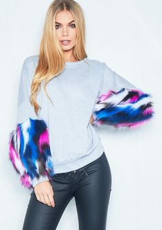 d259dbf4002f4 Missyempire - Sonia Grey Multicolour Faux Fur Sleeve Jumper Vinyl Trousers