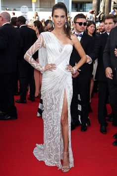 Alessandra Ambrosio wore an Atelier Versace gown.