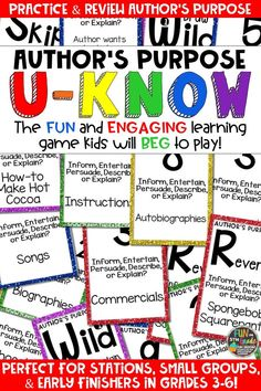 Students love playing U-Know games for fun REVIEW of author's purpose or for test prep. It's a perfect activity for any small group or station, and great for early finishers. Author's Purpose U-Know is a fun learning game played similar to UNO except if you get an answer wrong, you have to draw two! Students will beg to practice author's purpose in this way! Both a 3 type and 5 type set available. Also available in MANY other topics, too!
