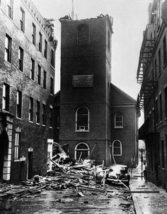 Old North Church in Boston photographed on September 2, 1954 after it was damaged during Hurricane Carol.