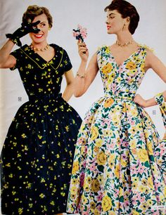 vintage 1955 Sears catalogue 50s floral print dress black yellow pink white green day party full skirt