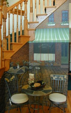 Cafe mural complete with matching tables and chairs.