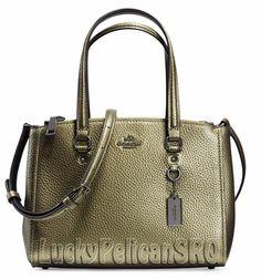 coach satchel bag outlet k4o6  COACH 36877 STANTON CARRYALL SATCHEL 26 Black Antique Nickel/Metallic Green  NWT #Coach # Coach SatchelCoach Bags OutletCoach