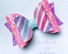Your place to buy and sell all things handmade Pink, Purple and Rainbow Stripe Glitter Bow Hair Clip, Girls Hair Clip, Unicorn Hair Bow, Rainbow Ha Making Hair Bows, Diy Hair Bows, Diy Bow, Bow Hair Clips, Bow Clip, Crystal Hair, Slouchy Beanie, Glamour Hair, Rainbow Hair