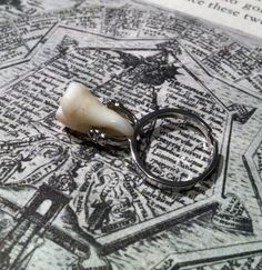 Tooth Fairy Series: Floating Real Human Molar Adjustable Ring in Antique Silver by BoneLust on Etsy
