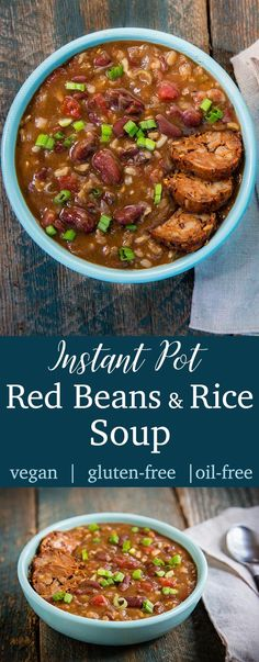 This vegan Instant Pot Red Beans and Rice Soup is a hearty, richly seasoned soup version of the traditional New Orleans' dish. Low in fat and high in plant protein, this gluten-free soup counts as 2 smart points on the Weight Watchers Freestyle program. Whole Food Recipes, Soup Recipes, Vegetarian Recipes, Healthy Recipes, Jello Recipes, Rice Recipes, Red Beans N Rice Recipe, Weight Watchers Red Beans And Rice Recipe, Instant Pot Red Beans And Rice Recipe