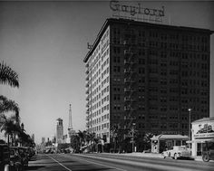 https://flic.kr/p/HsQQEg | Looking west on Wilshire Boulevard at Kenmore, 1938 | Gaylord Wilshire Apartments at Kenmore Avenue. Ambassador Hotel just out-of-frame to the left.  USC Digital Library