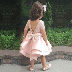 A-Line Bateau Short Sleeves Pink Satin Bow Flower Girl Dress with Lace