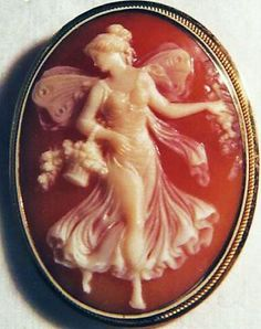 Edwardian shell cameo of lady with butterfly wings.