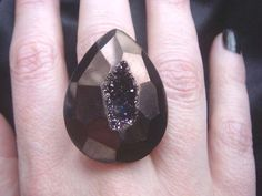 Big Bold One of a Kind Black Cherry Titanium Druzy Statement Ring by NakiaDesign, $55.00 I WANNIT!!!!