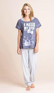Pijama en gris oscuro / gris claro