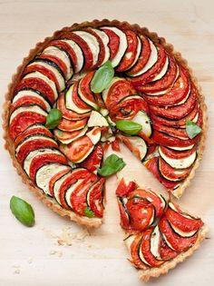 Tarte tomate, courgette et parmesan.