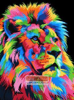 Rainbow abstract lion cross stitch kit