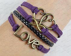 Love Infinity  Charm BraceletSilver Wax Cords and by lifesunshine, $7.99