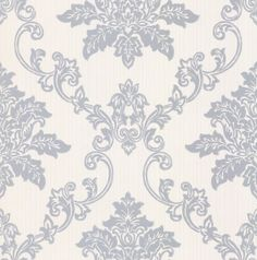 A classic mid-scale damask design with a hand-painted effect on a lightly striped background. Available in a range of colours. Shown here in the silver metallic on off white.