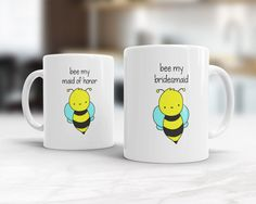 Bridesmaid Proposal Gift Mug Funny Will You Be Bee My Pun Maid of Honor Matron Flower Girl Invite Bridal Party Cute Custom Gifts Quote Mugs  Bee My Bridesmaid...a fun way to ask your dearest friends and family to be part of your big day! This funny mug is perfect for your entire bridal party...from bridesmaids to maid and matron of honor to junior bridesmaids this sweet little bee will put a smile on everyones face!  Design is printed on both the front and back so its cute face can be seen…