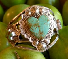 I heart this Turquoise Heart Cuff Bracelet!