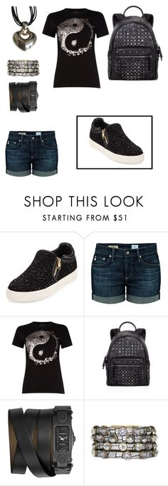 """""""up to no good"""" by happyhippylady ❤ liked on Polyvore featuring Ash, AG Adriano Goldschmied, Diesel, MCM, Givenchy, HEET, Bulgari, black, Leather and Studs"""