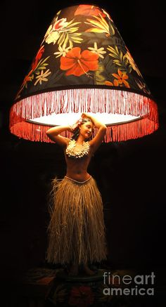 Vintage Hula Girl Lamp Photograph