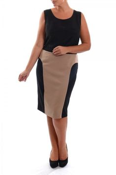 Elvi Womens Plus Size Ladies Black & Coffee Silhouette Skirt - Sizes 16-26