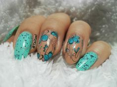 Abstract nail art using water decals