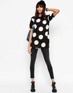 Image 4 of ASOS Oversized Spot Tunic With Side Splits