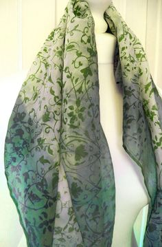 Hand dip dyed and screen printed square silk by HollyEdenTextiles