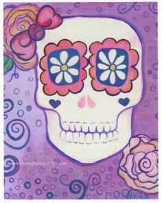 Halloween Decoration Sugar Skull ART with flower by Huneybunny