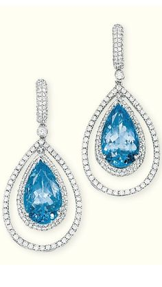 A PAIR OF AQUAMARINE AND DIAMOND EAR PENDANTS  Each pear-shaped aquamarine within a pavé-set diamond surround suspended within a diamond border to the pavé-set surmount with collet connecting link, 4.5 cm long (2)