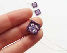 Purple Tiny Granny Square Pendant