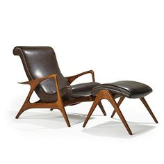 """VLADIMIR KAGAN - KAGAN-DREYFUSS - Adjustable lounge chair and ottoman, New York, 1950s - Sculpted walnut, recycled leather"