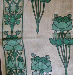 Stunning Boho Chic Art Nouveau Stenciled Fabric Panel