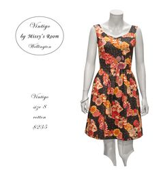 New dress, made by us in Wellington, from medium weight vintage cotton. Only one dress was made from this fabric. SOLD