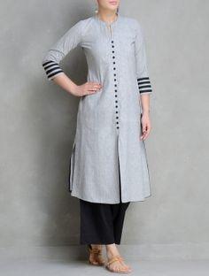 Grey-Black Mangalgiri Cotton Kurta by Maati Crafts Salwar Designs, Simple Kurti Designs, Stylish Dress Designs, Kurta Designs Women, Dress Neck Designs, Kurti Designs Party Wear, Designs For Dresses, Blouse Designs, Kurti Sleeves Design