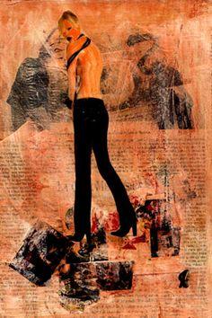 10-MUROS de ARTE (Cris Acqua) Pintura MIxta Collage. 30x21 cm ( Sold) MUROS de ARTE. Mixed Media.  He jugado con seda en los muros, con pinturas, con periódicos, con cepillos y pinceles impregnados de cola, con mis recuerdos, con mis fantasias, con mi rabia, con mi alegria, pero siempre , siempre..como amante encaprichada, obsesivamente del ARTE... (Cris Acqua) www.crisacqua.com