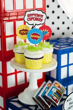 Cupcakes at a Superhero Party on a Budget via Kara's Party Ideas | Kara'sPartyIdeas.com #Superhero #BudgetFriendly #PartyIdeas #Supplies #cupcakes #kryptonite