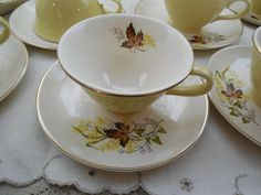 Leaf O Gold China, Taylor Smith & T Cups and Saucers, 8 Vintage Cups and Saucers, Vintage Fall Serving, Holiday Dining, Tea and Coffee Cups