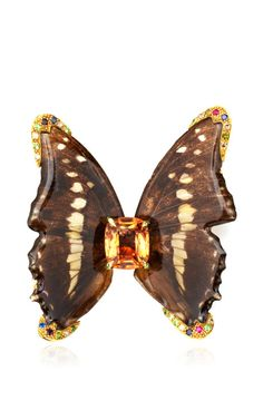 One Of A Kind Topaz Butterfly Brooch by Sylvie Corbelin for Preorder on Moda Operandi