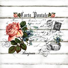 French Vintage Carte Postale Rose Large A4 Instant by CreatifBelle