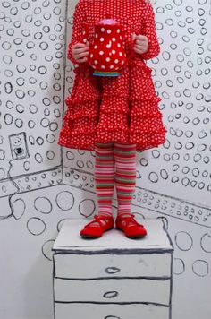 .I love it, love it, love it! Red with white polka dots ismy abslute favorite -- wherever, whenever, whatever!!! Add the striped socks and red Mary Janes and we are in heaven :)!