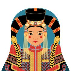 This is my Mongolian Matryoshka (aka- babushka, nesting doll, Russian doll, stacking doll) a print of an original illustration by me, Amy Perrotti.