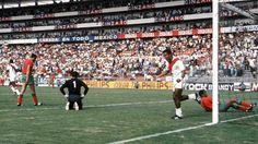 Peru 3 Morocco 0 in 1970 in Leon. Teofilo Cubillas makes it 3-0 on 75 minutes in Group 4 at the World Cup Finals.